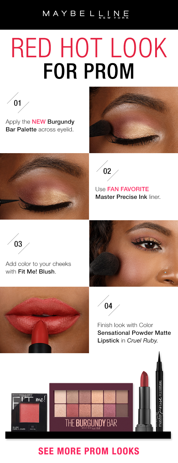 Want Red All Over For Prom Try This Romantic Look Using Only Drugstore Products First Choose Your Favorite Sha Gold Eye Makeup Burgundy Eye Makeup Eye Makeup