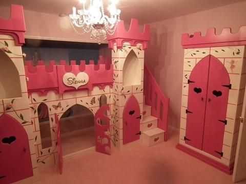 Elaborate Princess Castle Bed With Slide And Stairs And Hand Painted  Artwork And Matching Wardrobe