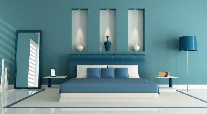 deco-bleu-canard-idee-deco-chambre-a-coucher-differentes-teintes-de