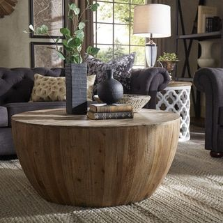 hatteras drum reclaimed woodblock barrel coffee table signal hills
