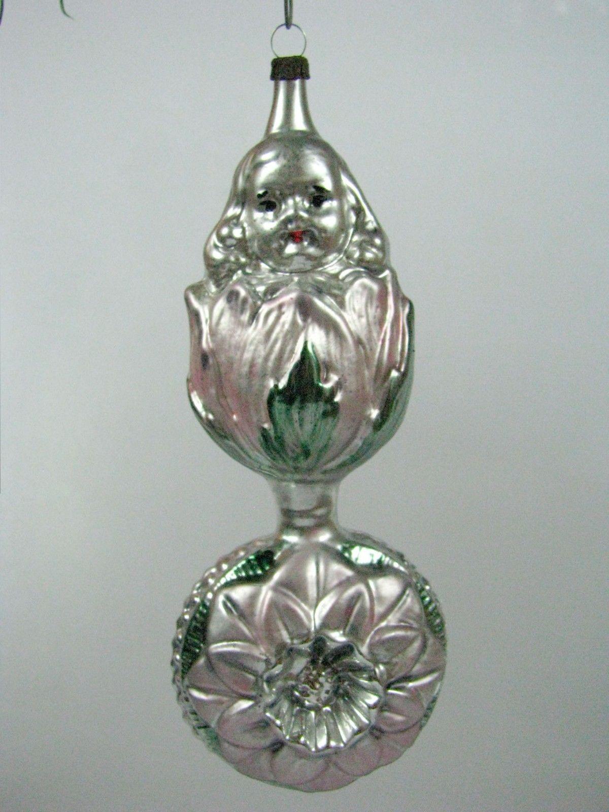 Vintage Girl in Tulip on Indent Ball German Mercury Glass Christmas Ornament | eBay
