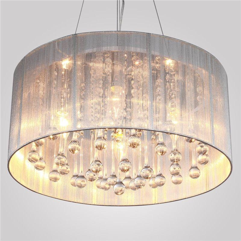 Crystal Pendant Lighting Drum Modern 4 Lights Minimalist Pendant