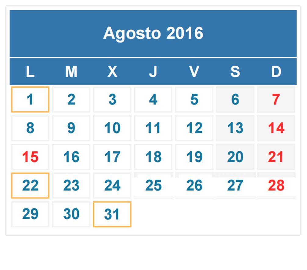 Calendario Fiscal Agosto   Diseo    Mes De Agosto