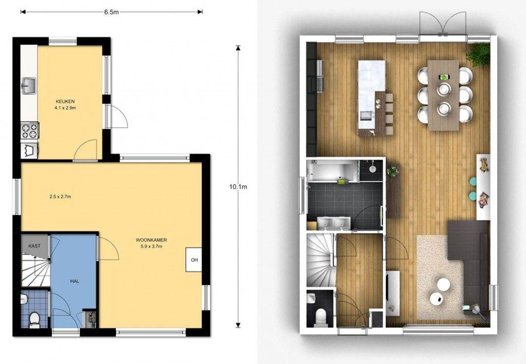 plattegrond interieuradvies woonkamer keuken badkamer