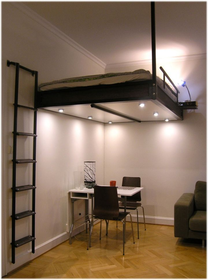 contemporary adult loft bed with stairs for small apartments | for
