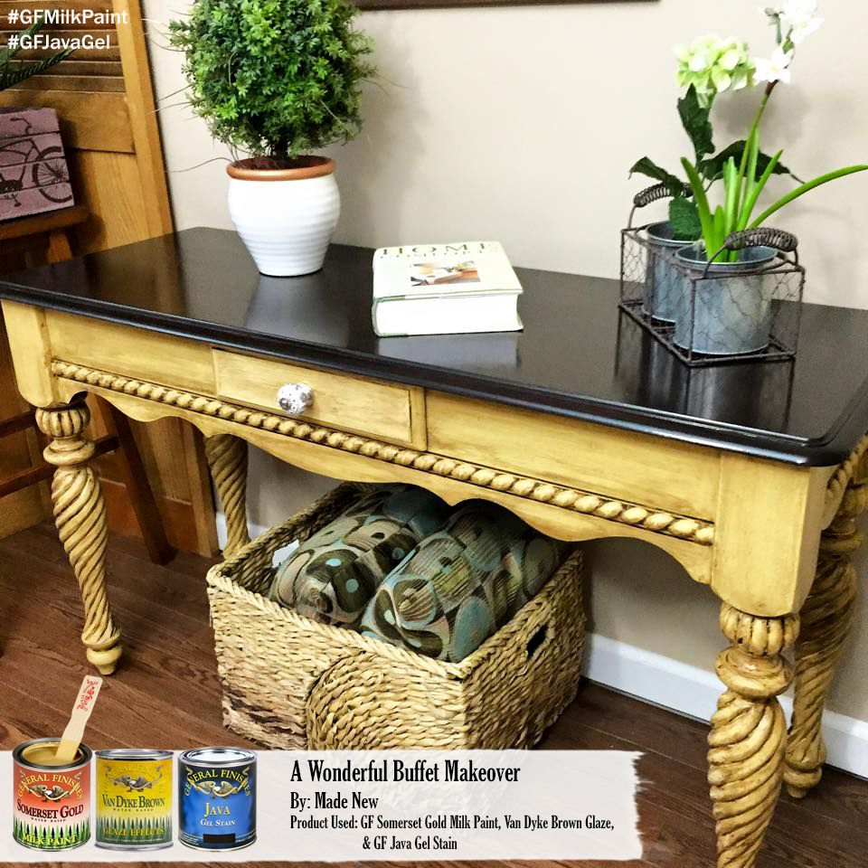 Made New Design, https://www.facebook.com/MadeNewDesignCT?fref=ts, have this table the full General Finishes treatment. It was painted with Somerset Gold Milk Paint, accented with Van Dyke Brown Glaze Effects and topped with the one and only Java Gel Stain. She's quite a head turner!