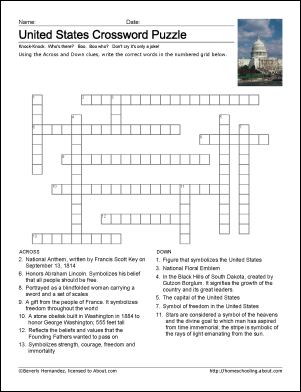 United States Printables United States Crossword Puzzle