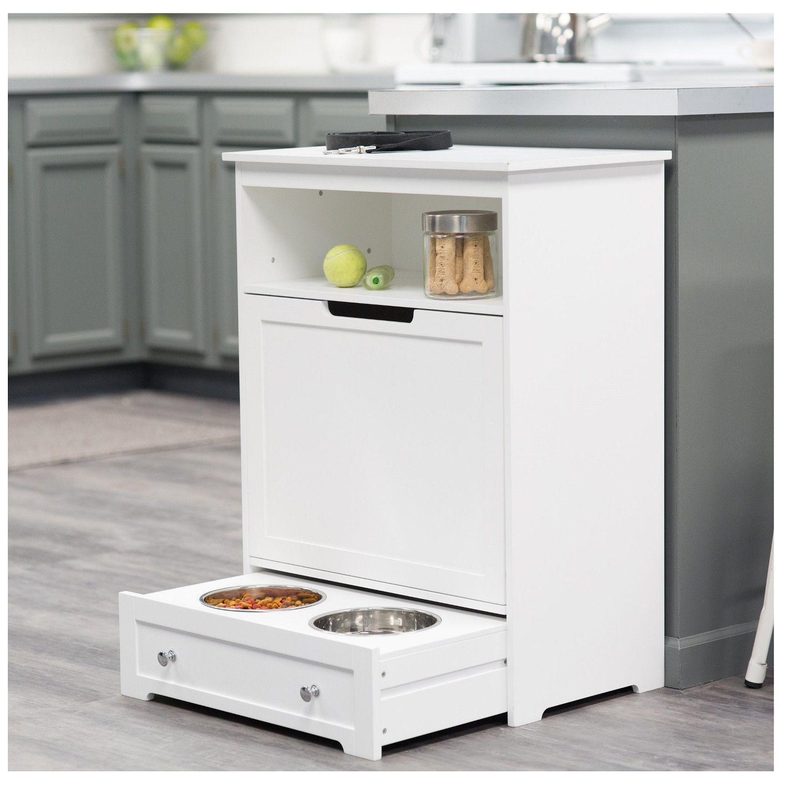 Dog food station pet feeder station storage cabinet product description this dog food storage cabinet
