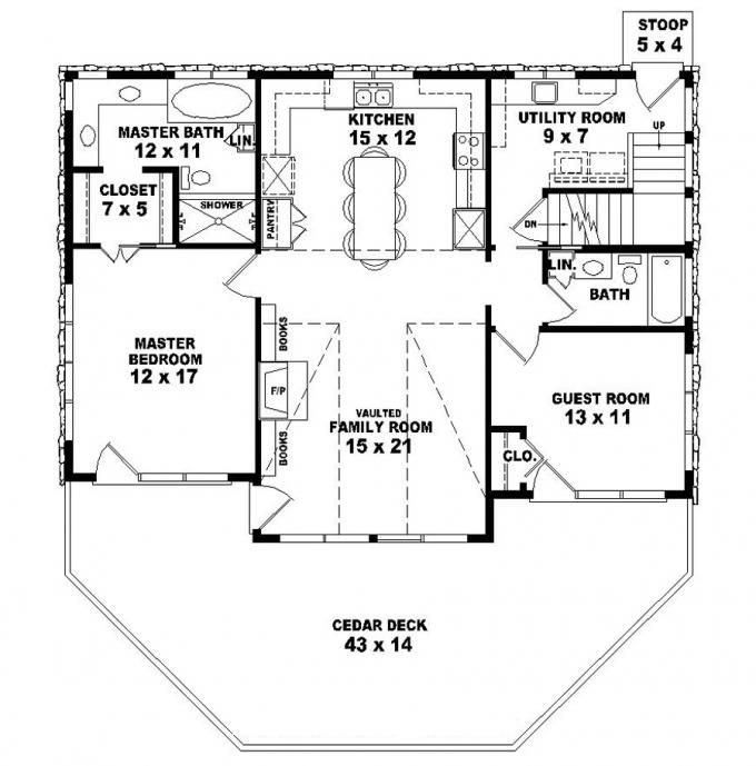 653775 two story 2 bedroom 2 bath country style house for Small 3 4 bathroom floor plans