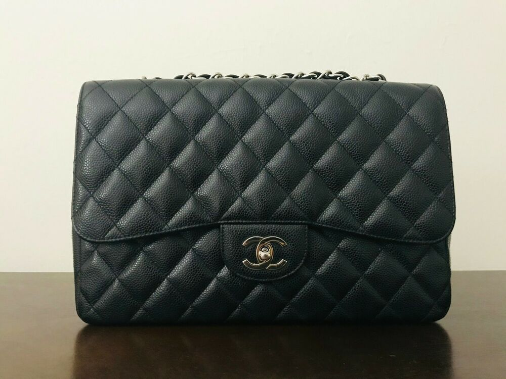 fd6cfa3c44a5 Chanel jumbo single flap black caviar great condition authentic ...