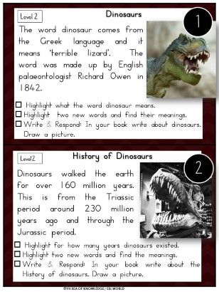 Dinosaurs Literacy Centers Nonfiction Reading Comprehension Passages