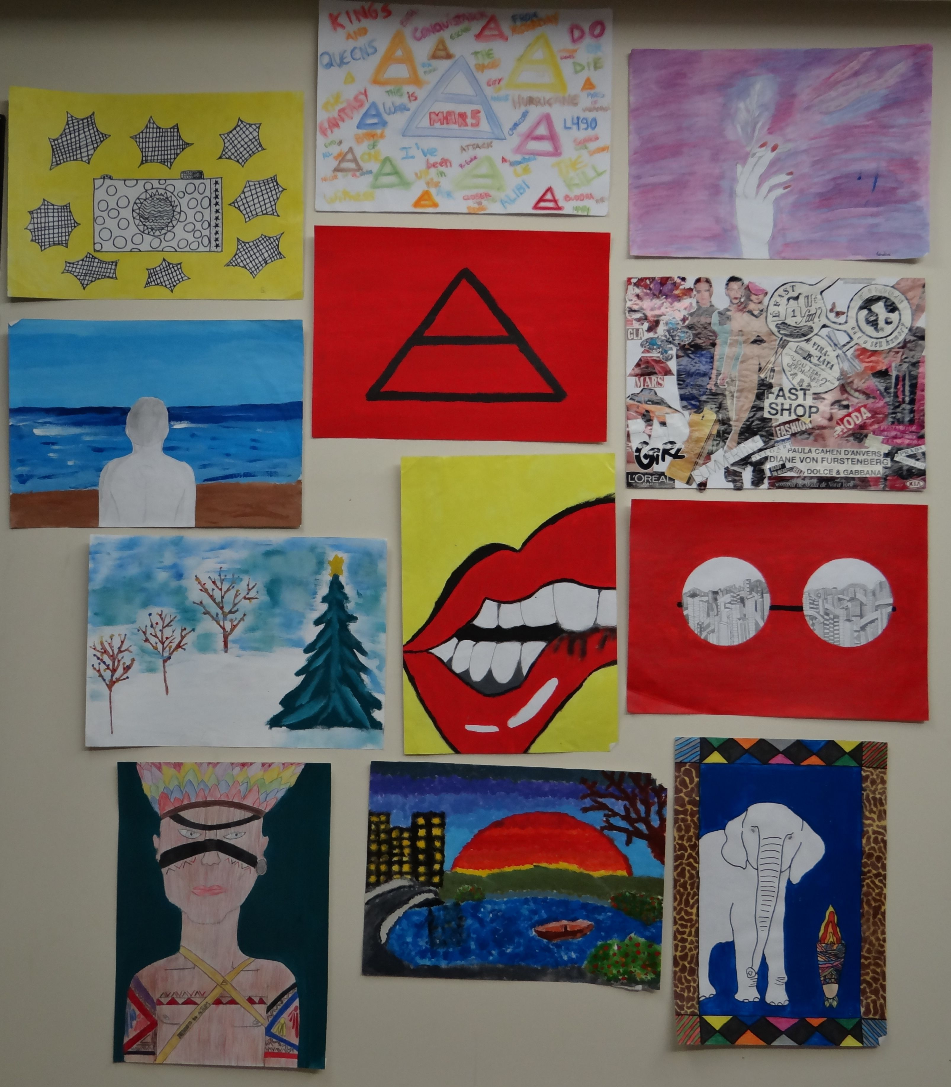 I made those paintings when I was at elementary school. I am a completely passionate about art. Art is everything to me. Art is an essential for living. I can see art in every single thing. Art is expression. Art is soul. It is something that transcends all boundaries, being in fashion, painting, sculpture, music, literature, photography... at all!
