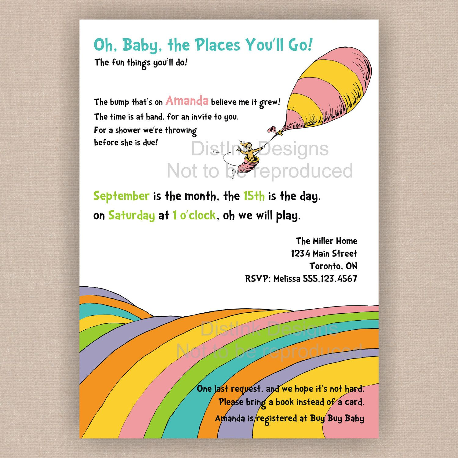Dr. Seuss Baby Shower Invitation, Oh the Places You Will Go ...