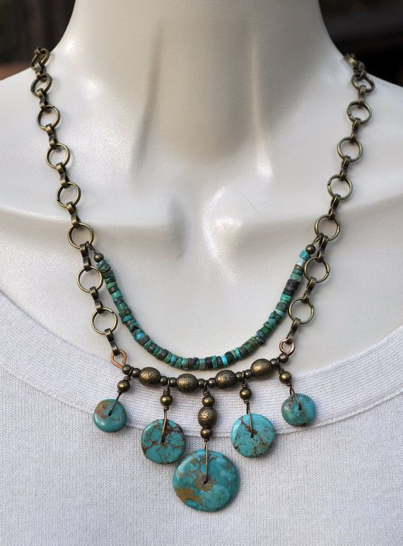 Bronze and Turquoise Stone Necklace and by JewelryArtByGail