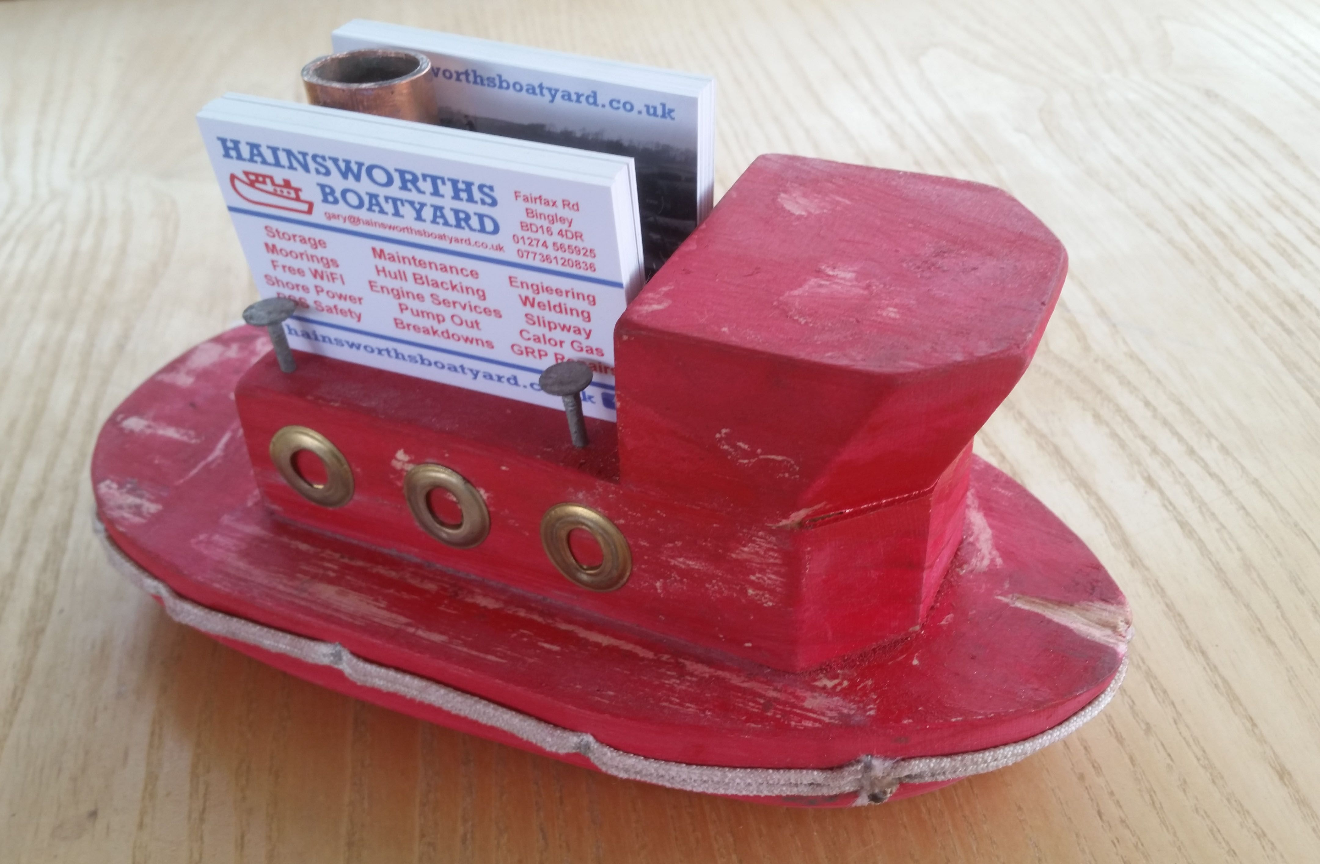 Business Card Holder Painted Red Wood Toy Tug Boat Business Card Holders Wood Toys Tug Boats