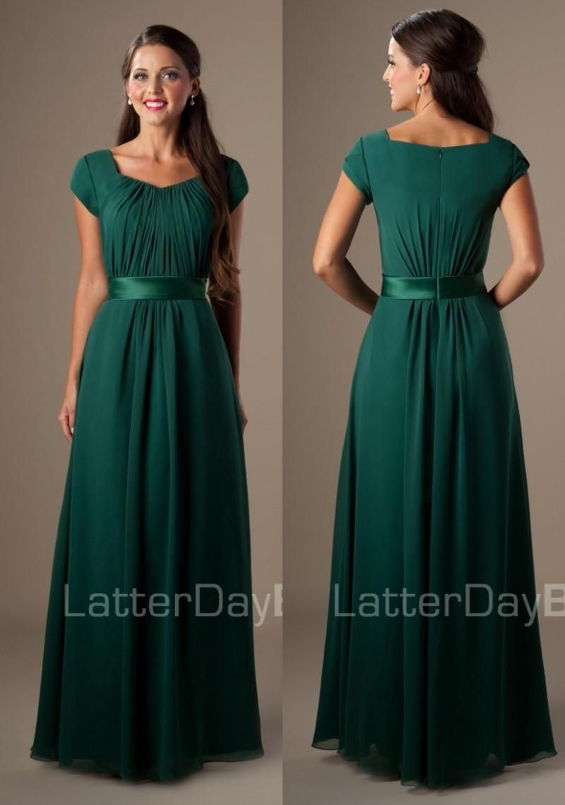 f6d987bfa6a Dark Green Long Floor Length Temple Modest Bridesmaid Formal Dresses With  Cap Sleeves Chiffon Beach Maids Honor Dresses Modest Classy Bridesmaid  Dresses ...