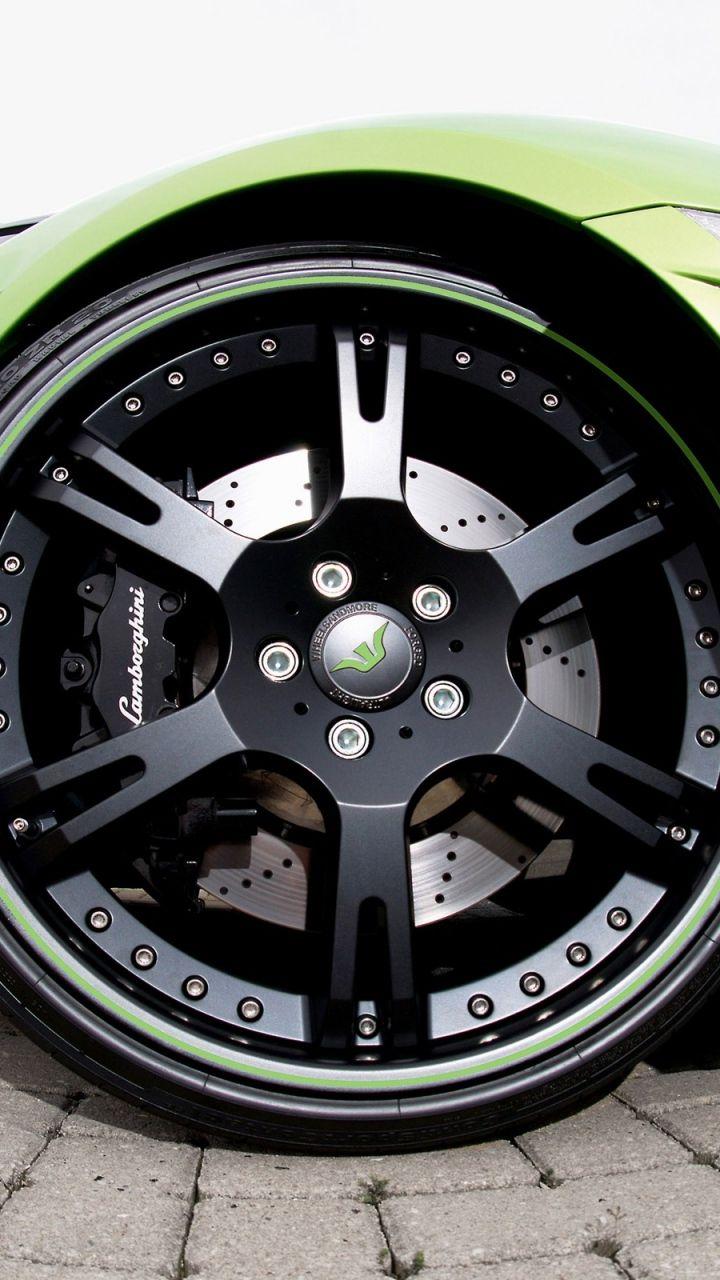 720x1280 Wallpaper Lamborghini, Wheel, Green #mobile_background #cars #car # Note2 #