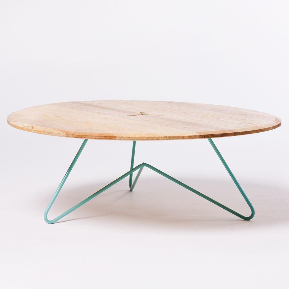 Fabricated Steel Coffee Table: Coffee Table: Ash On Seafoam