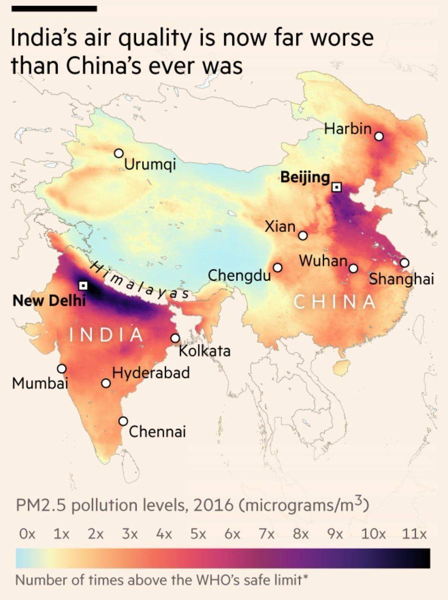 Air Pollution Levels in China and India, 2016 in 2020