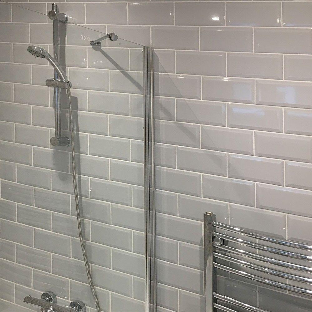 Retro Metro Light Grey Brick Tiles Bathroom Light Grey Bathrooms Brick Bathroom