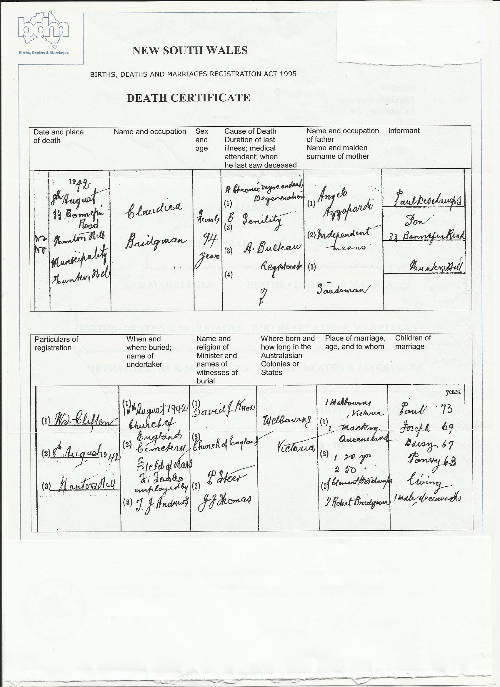 Death certificate of claudina sandeman bridgman mackay qld 1892 death certificate of claudina sandeman bridgman mackay qld 1892 deschampsmelbourne aiddatafo Choice Image