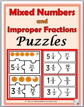 Mixed Numbers And Improper Fractions Puzzles Fraction Activities Improper Fractions Fractions Fraction Activities