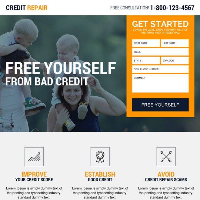 credit repair experts free consultation landing page. Black Bedroom Furniture Sets. Home Design Ideas
