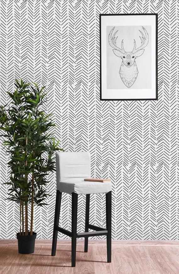 Black And White Geometric Sticks Removable Wallpaper Peel And Etsy Black And White Wallpaper Peel And Stick Wallpaper Wall Wallpaper