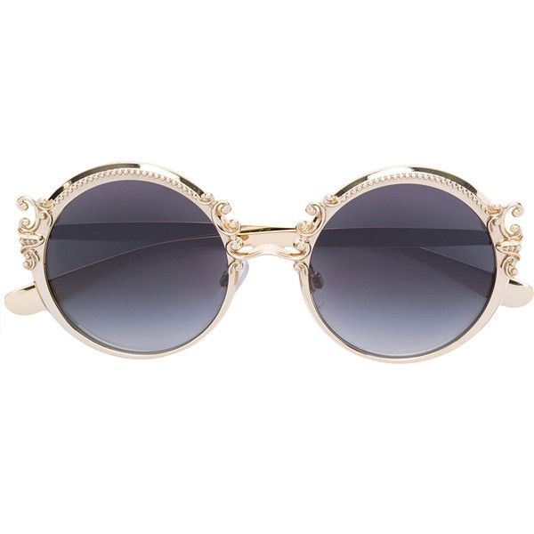 f0b7cf92e44 Dolce   Gabbana Eyewear baroque round frame sunglasses ( 475) ❤ liked on  Polyvore featuring