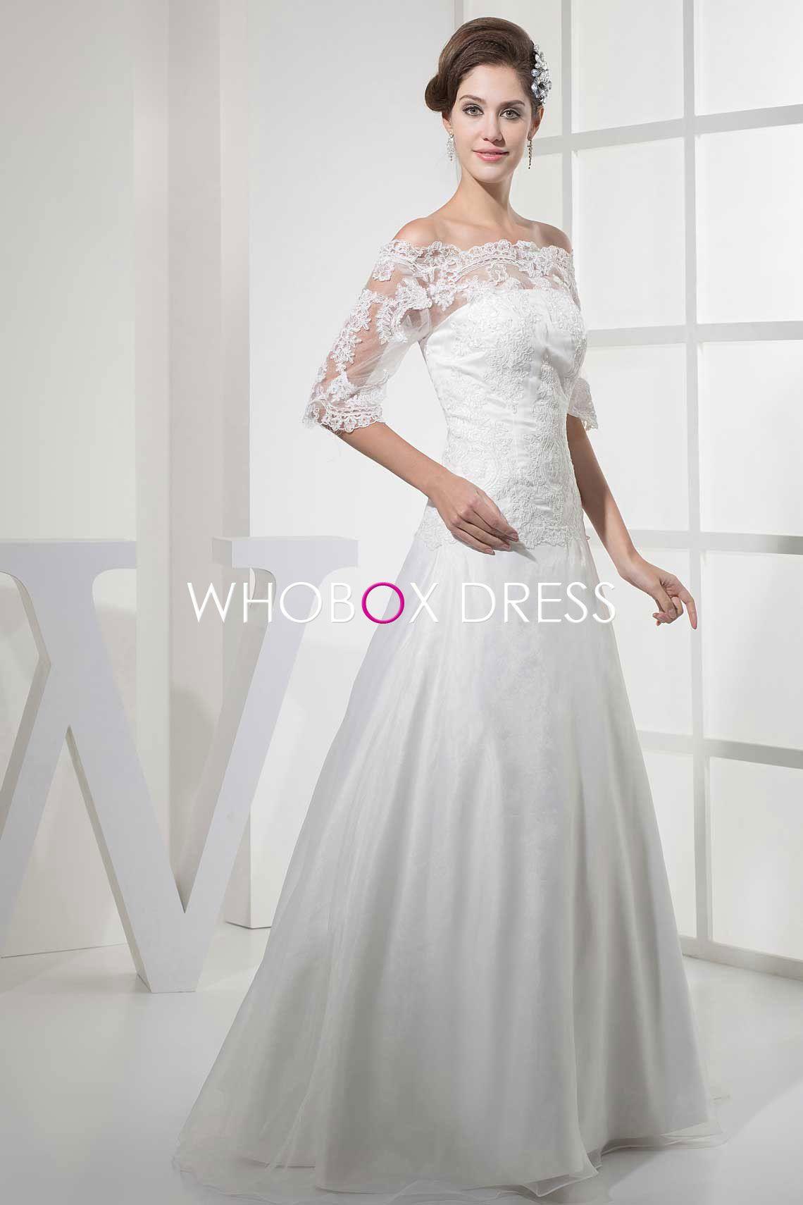 Organza long beaded tulle natural waist half sleeve aline wedding