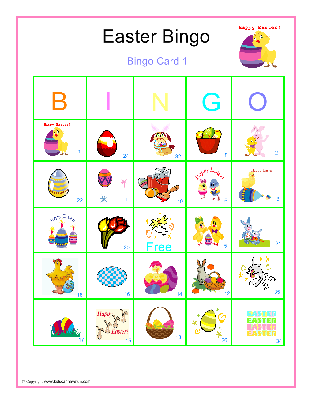 Easter Bingo Printable Cards 6 | Easter | Pinterest | Easter bingo ...
