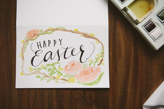 Happy Easter Watercolor Card Tutorial Diy