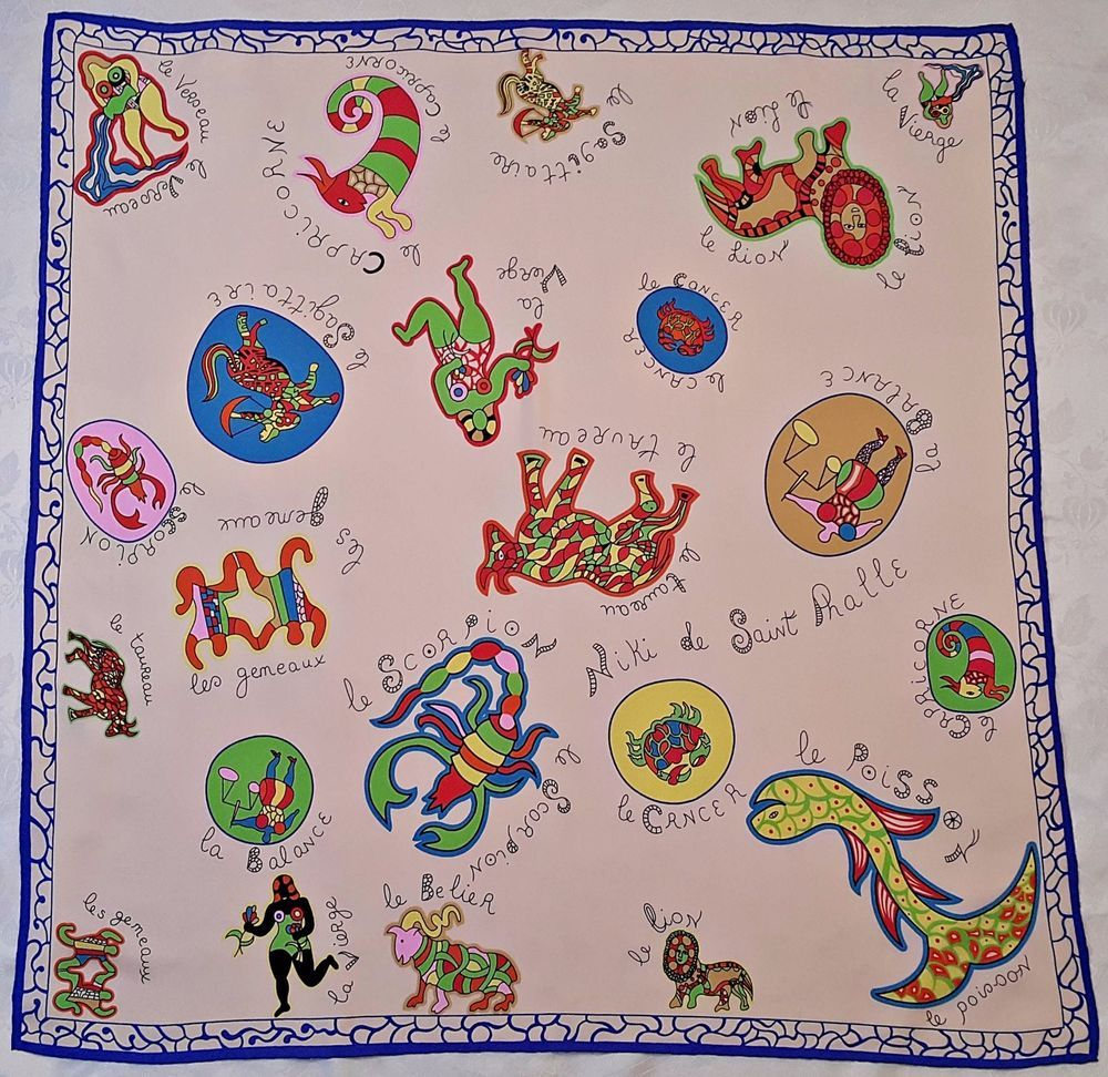VINTAGE AUTHENTIC NIKI DE SAINT PHALLE NAIVE ART ZODIAC PINK SILK38