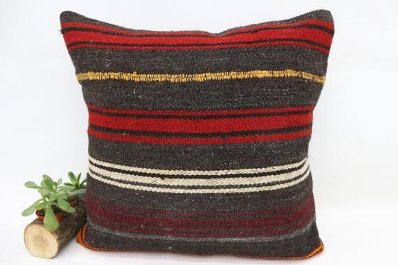 22x22 Kilim Pillow, Needlepoint Kits Pillow, Pillow Covers, Striped Pillow, Throw Pillow, Boho Pillo