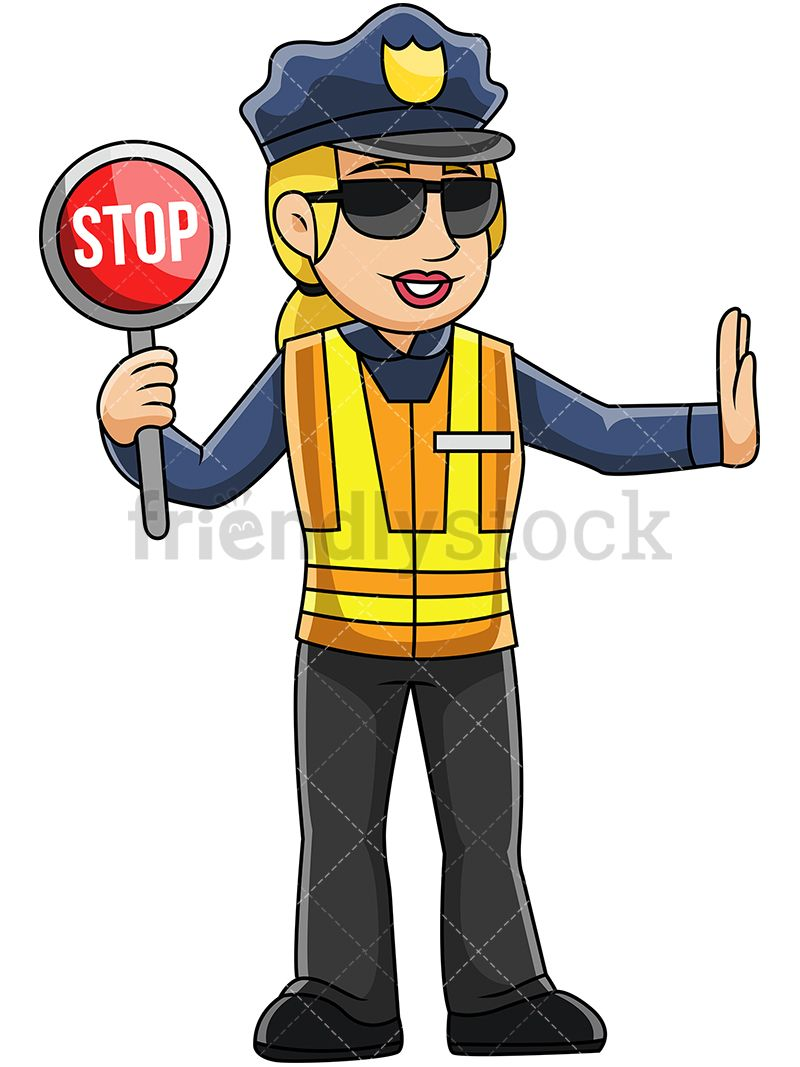 89e35e48c65ec4 Female Police Officer Holding Stop Sign: Royalty-free stock vector  illustration of a policewoman wearing a LED safety vest and holding a stop  sign to ...
