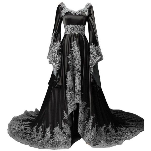 44e92d143c7 Lemai Vintage Long Sleeves Formal Evening Gowns A Line Women Gothic...  ( 180) ❤ liked on Polyvore featuring dresses