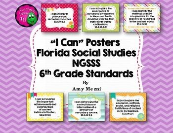 """I Can"" Posters 6th Grade NGSSS Social Studies Florida StandardsThis is a…"