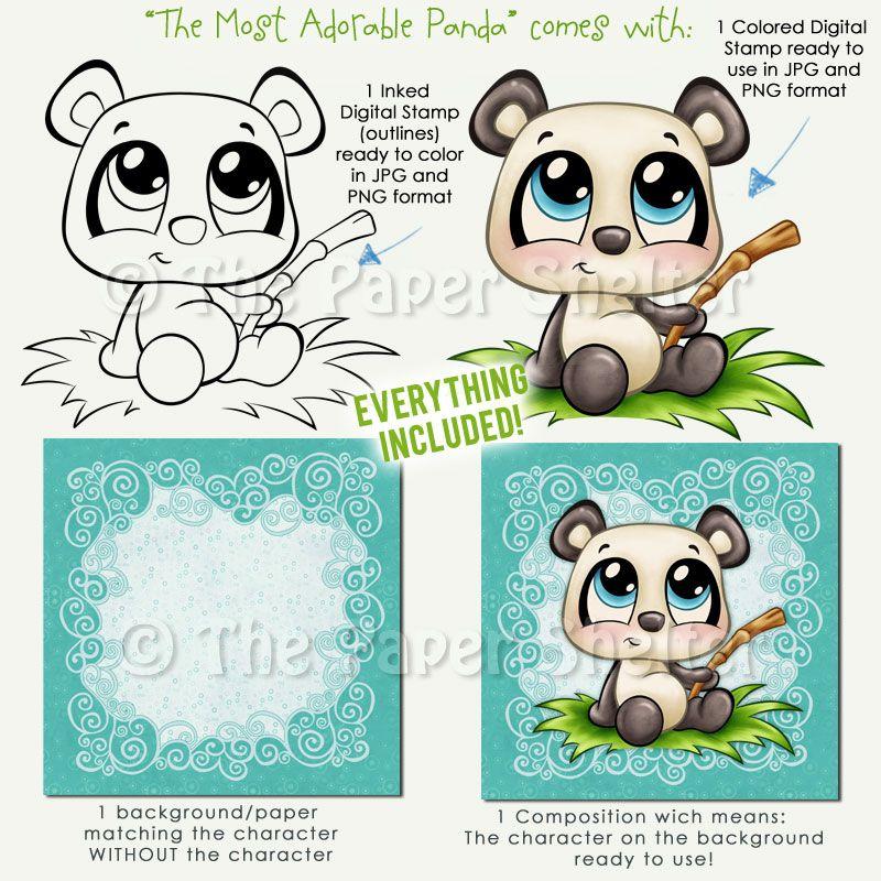 The Most Adorable Panda - Digital Stamp | Para Colorear | Pinterest ...