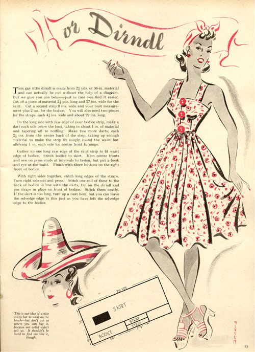 Vintage Chic: Very Easy 1939 Dirndl Dress Pattern | Fashion history ...