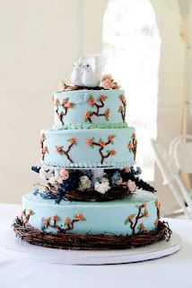 Bird Nature Themed Wedding Cake