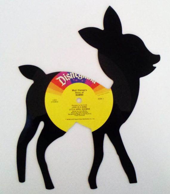 Recycled Vinyl Record Disney\'s BAMBI Wall Art by SecondSpinDesigns ...