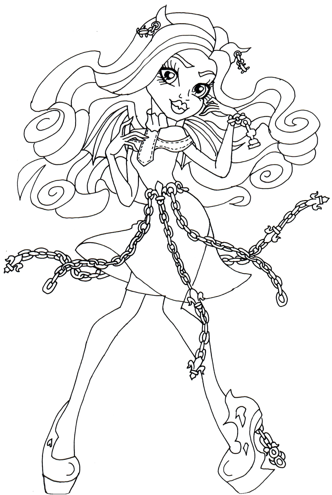 Haunted Rochelle Goyle Monster High Coloring Page Png 1075 1600 Coloring Books Coloring Pages Dance Coloring Pages