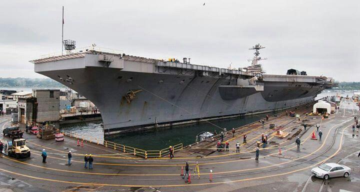 USS John C  Stennis entering drydock in Bremerton, WA PSNS