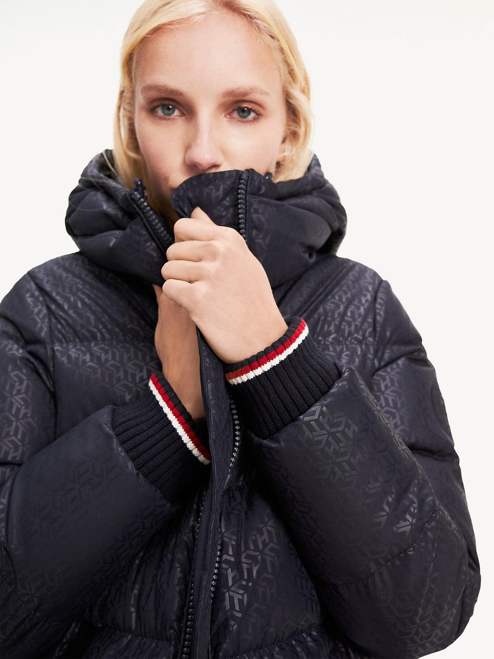 Monogram Print Long Padded Coat Blue Tommy Hilfiger Women S Coats Jackets Outerwear Jackets Tommy [ 1333 x 1000 Pixel ]