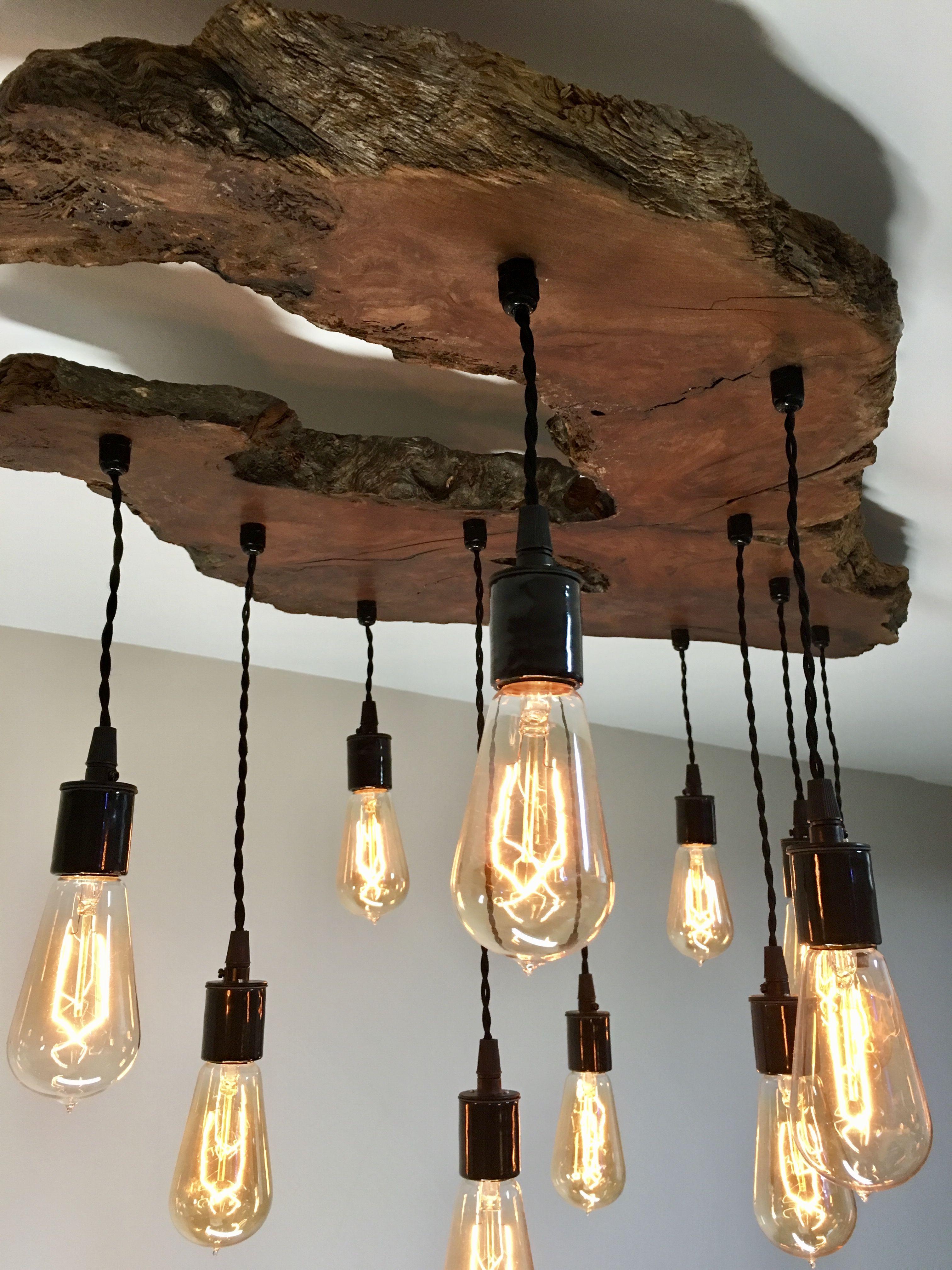 Medium Live Edge Olive Wood Chandelier Light Fixture Custom