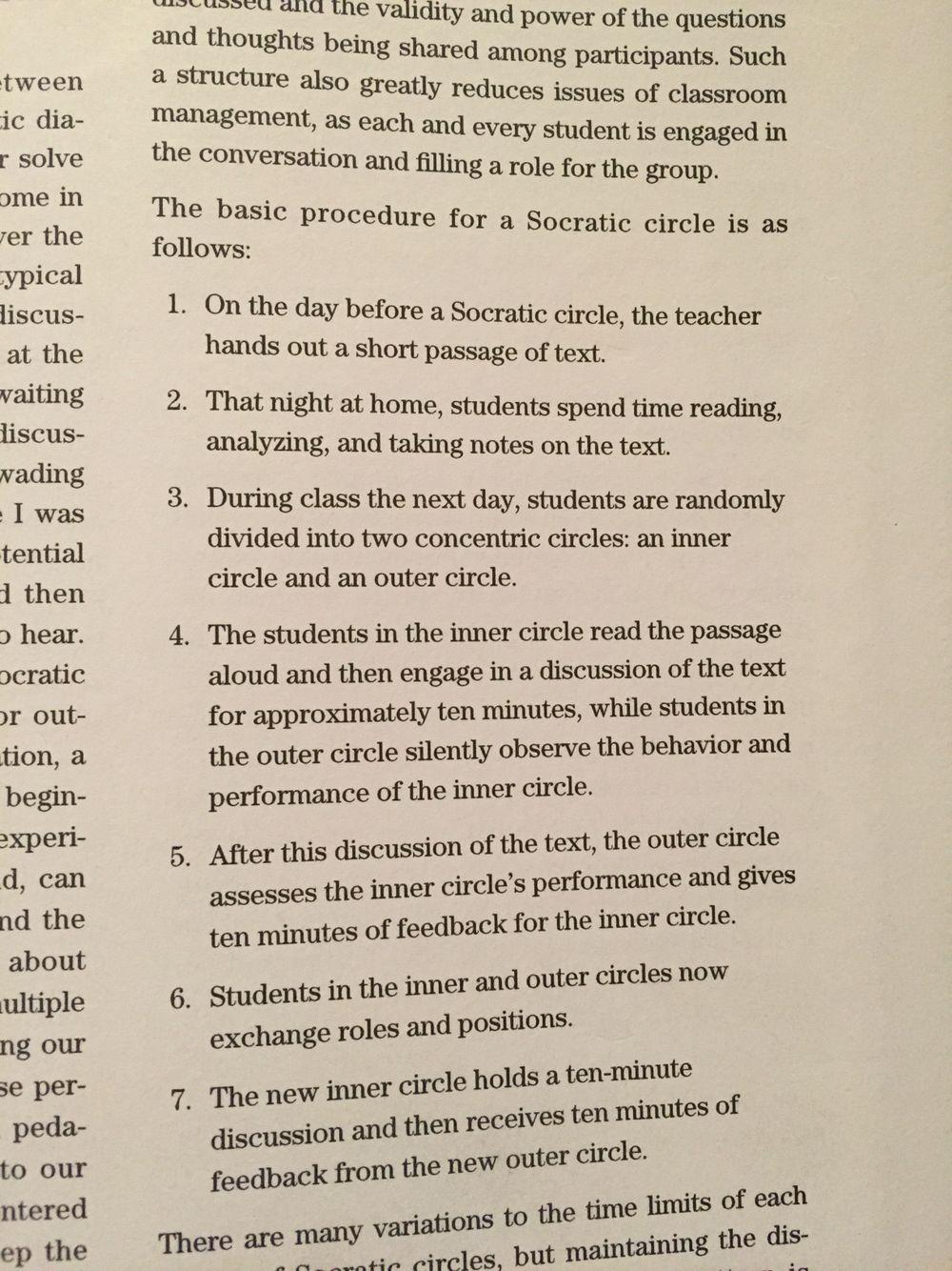 Socratic circle procedures