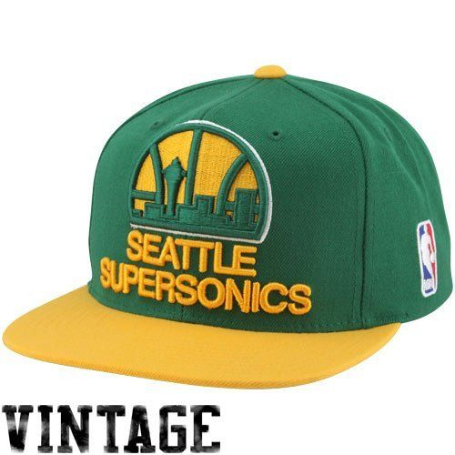 wholesale dealer a2ab4 d7ae8 Seattle Supersonics Sonics Mitchell   Ness XL Logo 2 Tone Snapback Green  and Yellow Hat by Mitchell   Ness.  25.95. NBA…   Sports   Outdoors - Fan  Shop in ...