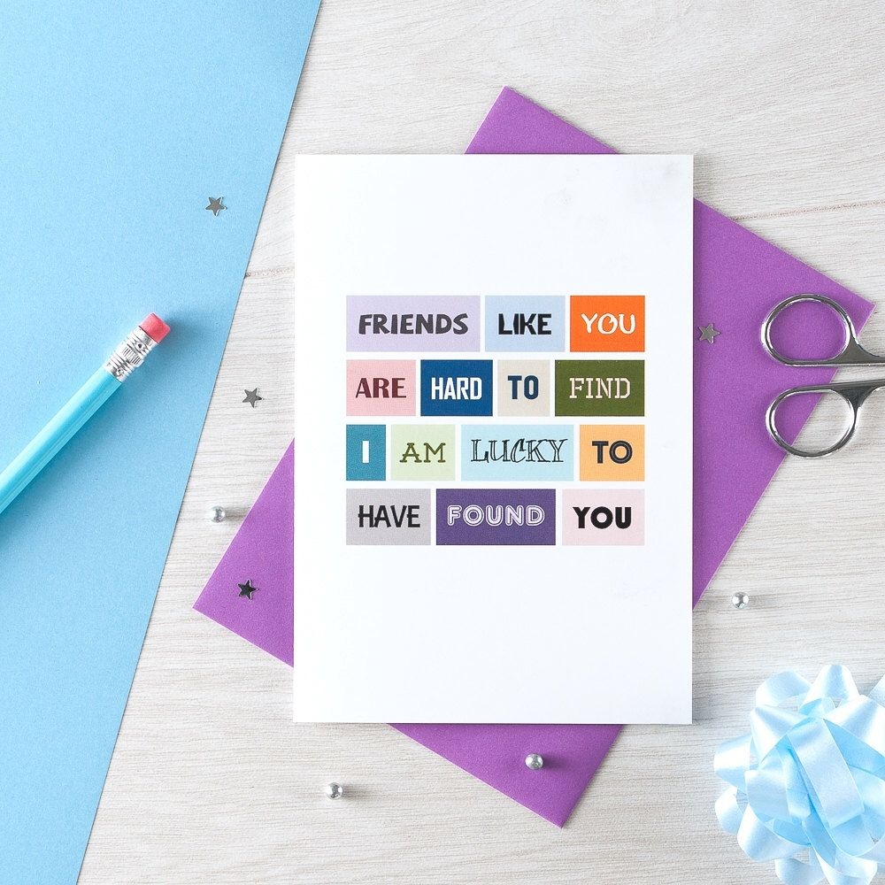 Friendship card greeting card for friend thank you