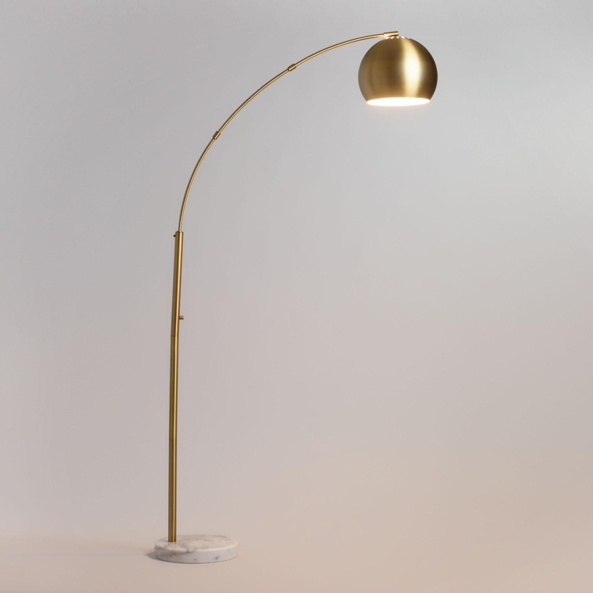 Brass Arc And White Marble Hayden Floor Lamp With Images Gold