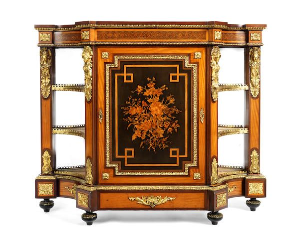 A Napoleon III satinwood, ebony, amaranth and marquetry meuble d